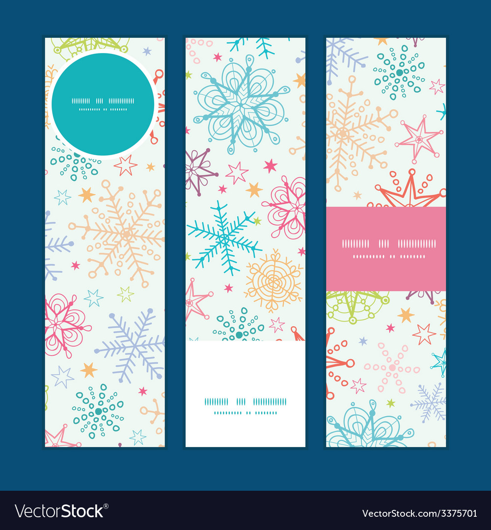 Colorful doodle snowflakes vertical banners set vector   Price: 1 Credit (USD $1)