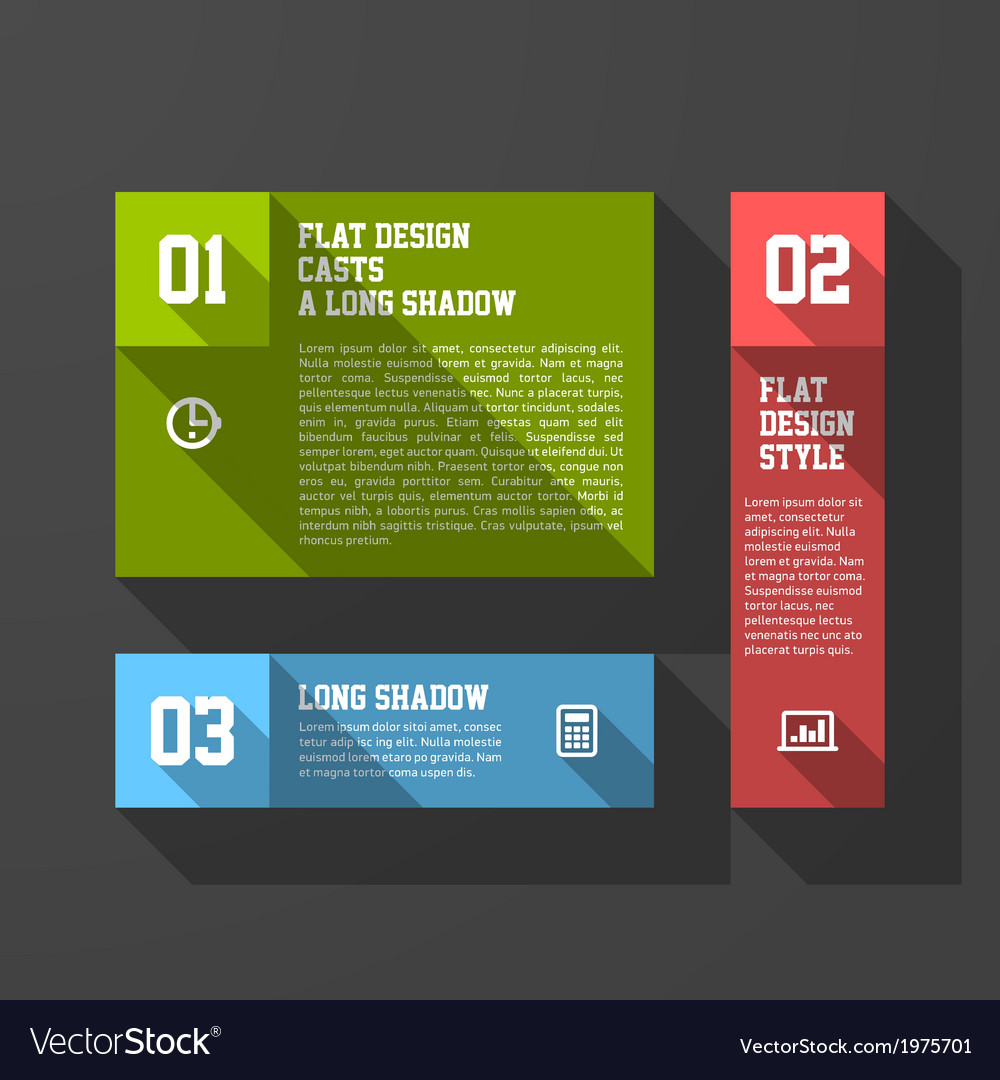 Design elements template long shadow style vector | Price: 1 Credit (USD $1)