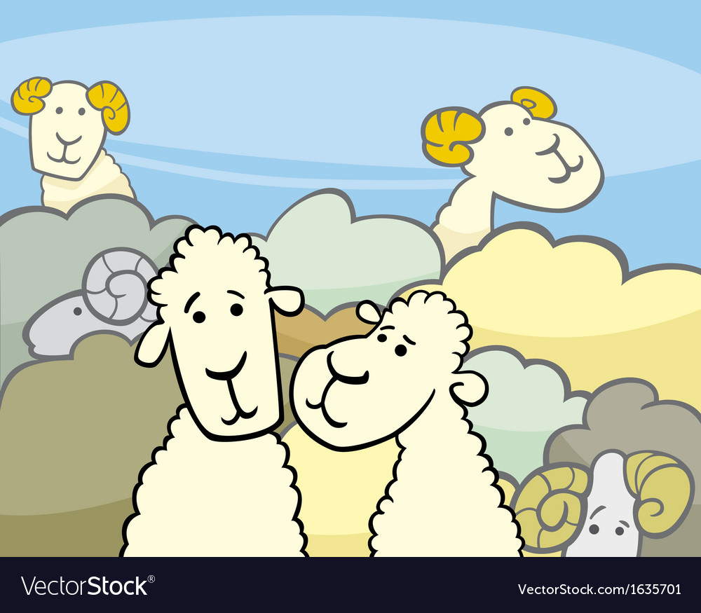 Flock of sheep cartoon vector | Price: 1 Credit (USD $1)