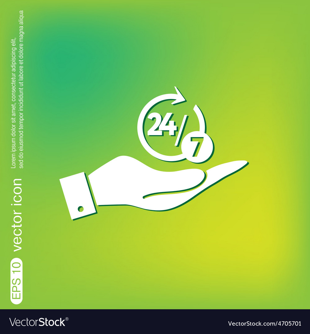 Hand holding a character 24 7 vector | Price: 1 Credit (USD $1)