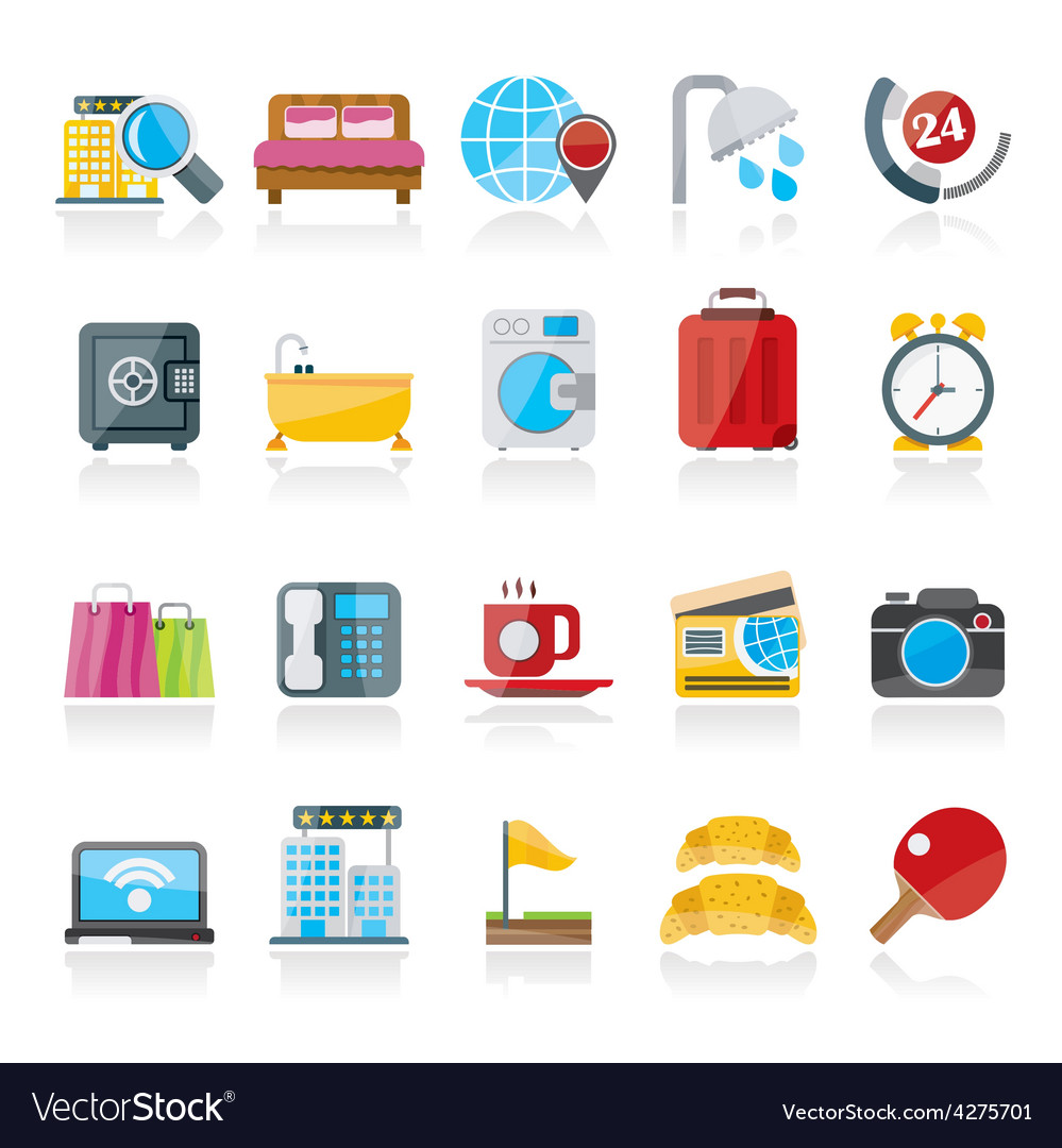 Hotel and motel services icons 1 vector | Price: 1 Credit (USD $1)