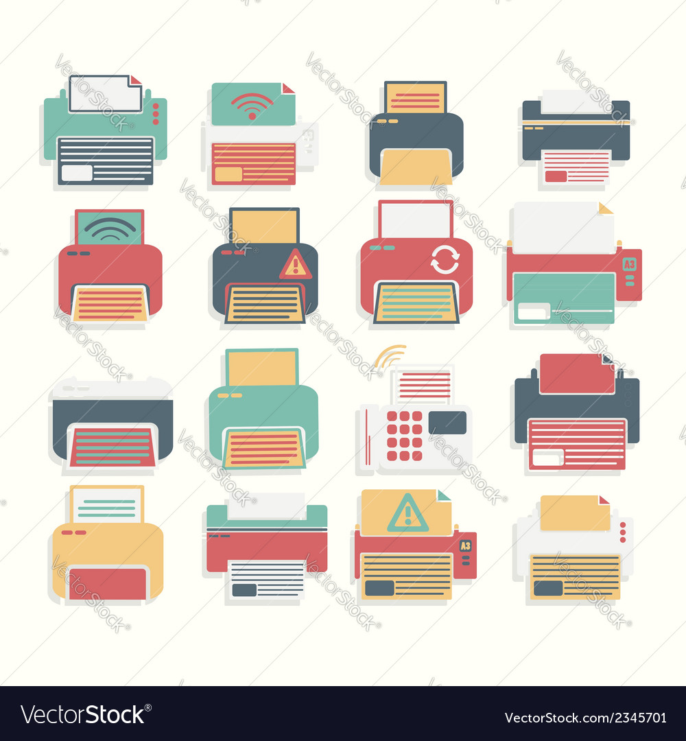 Icon color printer set vector | Price: 1 Credit (USD $1)