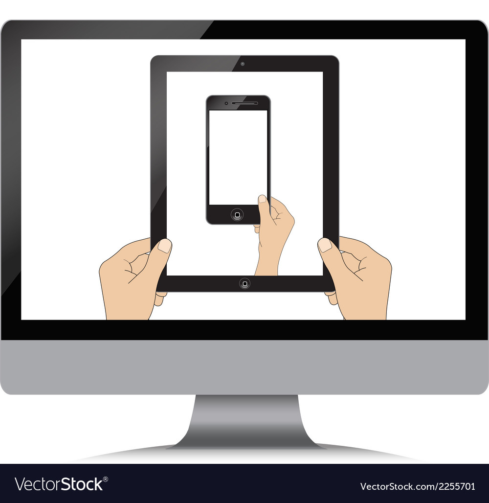 Isolation man hand holding the phone tablet touch vector | Price: 1 Credit (USD $1)