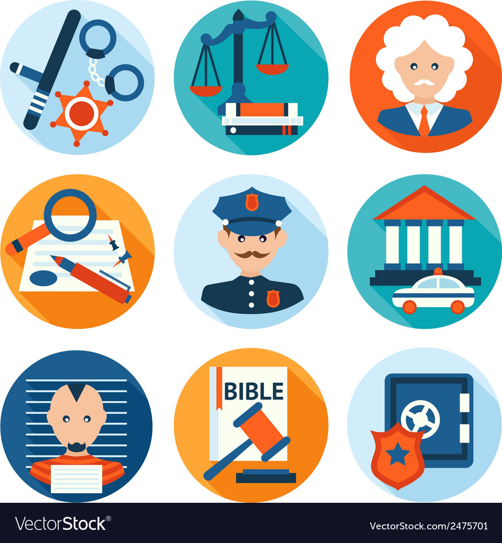 Law icons flat vector | Price: 1 Credit (USD $1)