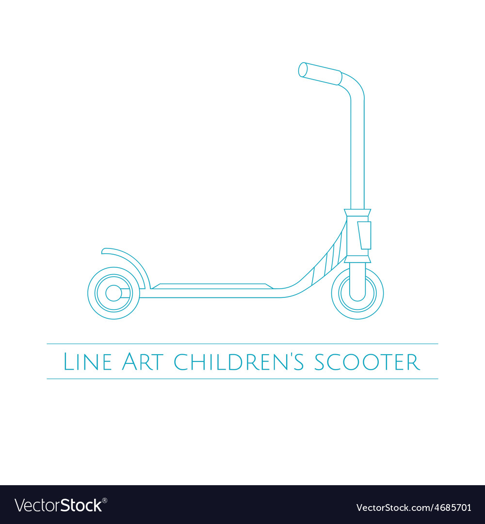 Line art childrens scooter two vector | Price: 1 Credit (USD $1)
