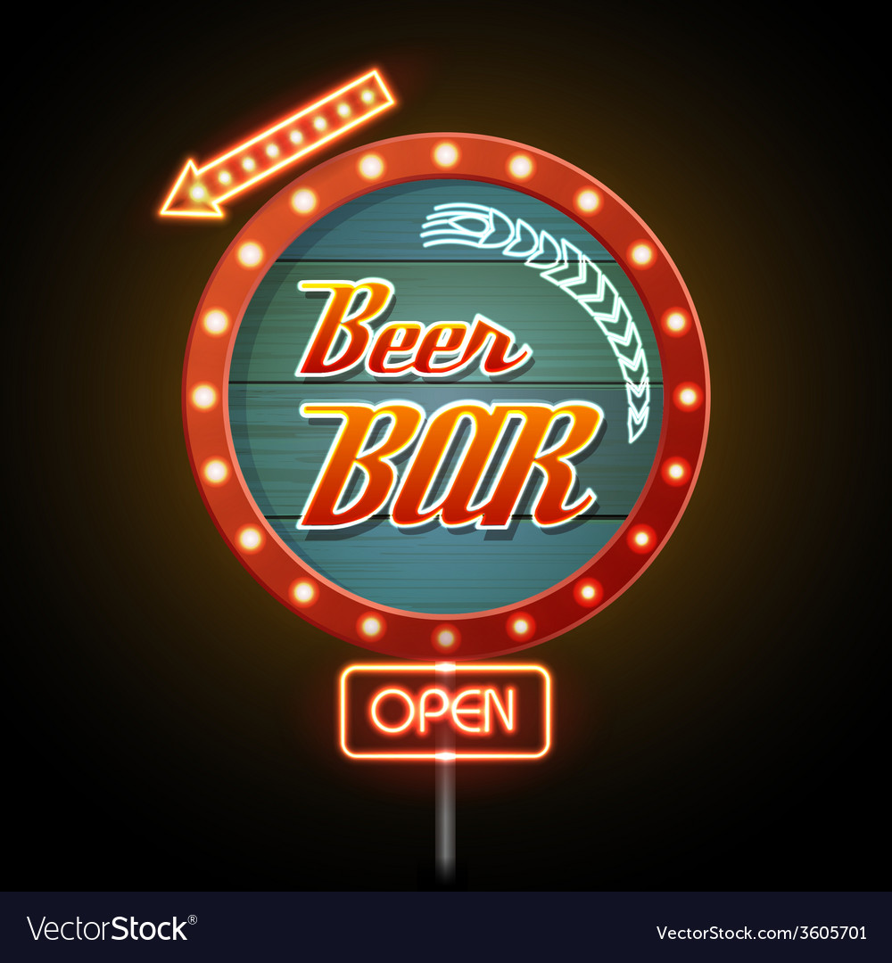 Neon sign beer bar vector | Price: 1 Credit (USD $1)