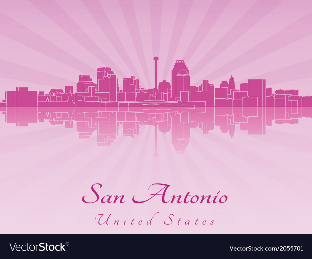 San antonio skyline in purple radiant orchid vector | Price: 1 Credit (USD $1)