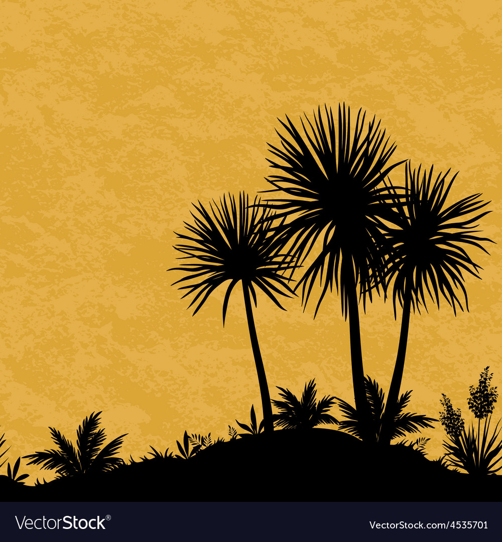 Seamless landscape palms and plants silhouettes vector | Price: 1 Credit (USD $1)
