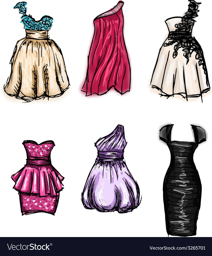 Set of gorgeous hand drawn evening and prom vector | Price: 1 Credit (USD $1)
