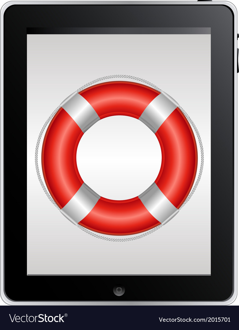 Tablet computer with red life buoy vector | Price: 1 Credit (USD $1)