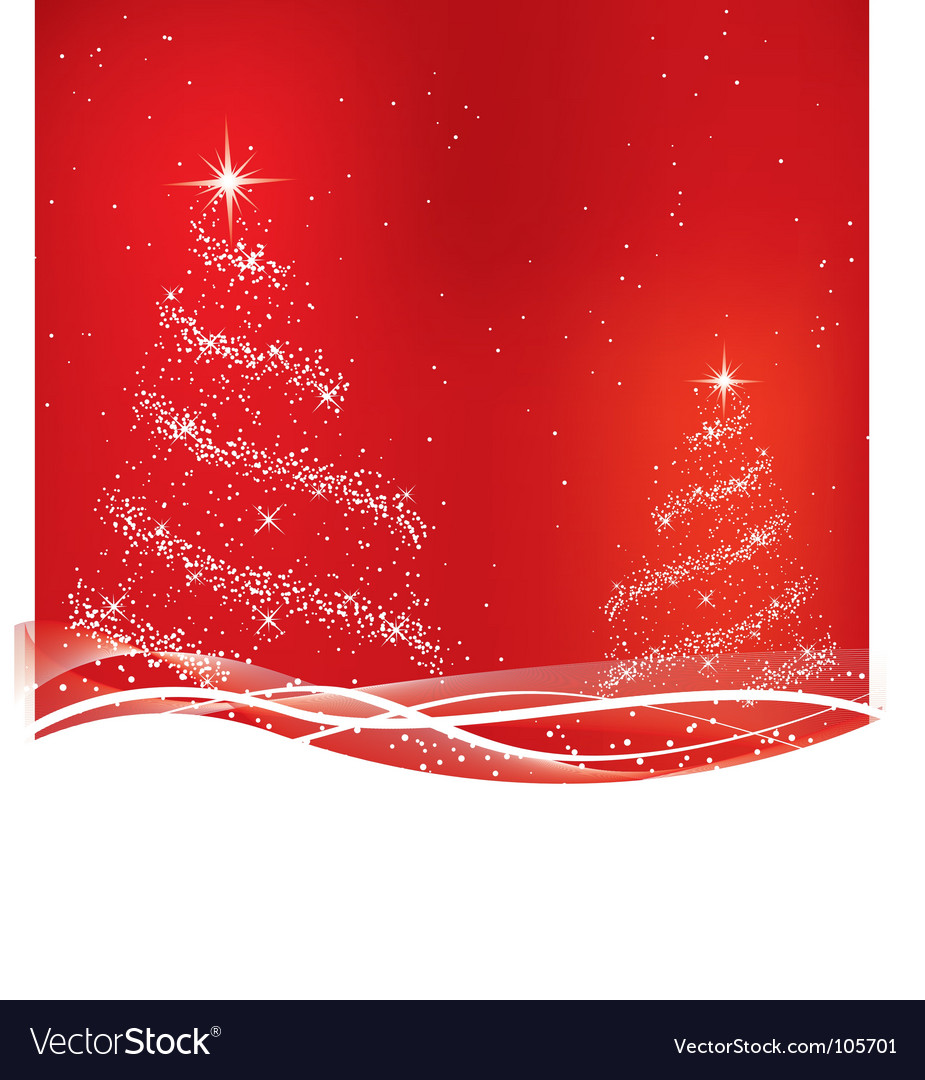 Two red christmas tree vector | Price: 1 Credit (USD $1)