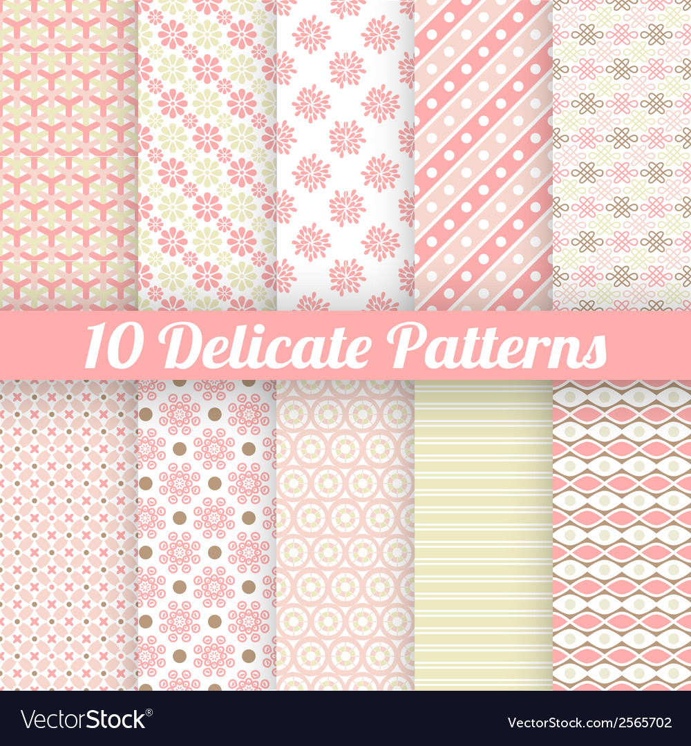10 delicate lovely seamless patterns tiling vector | Price: 1 Credit (USD $1)