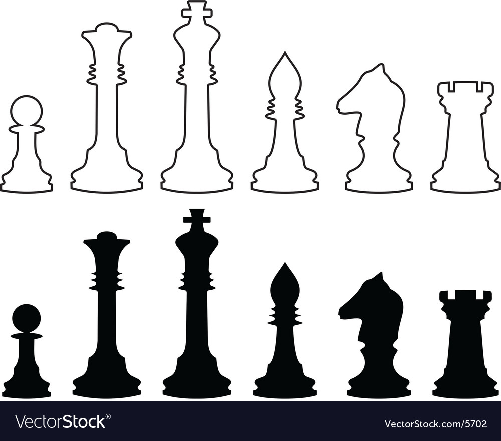 Chessmen black and white contours vector | Price: 1 Credit (USD $1)