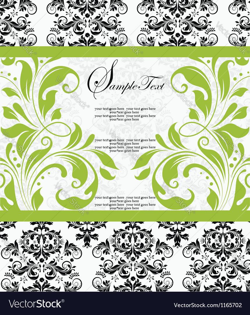 Damask lime shower invitation card vector | Price: 1 Credit (USD $1)