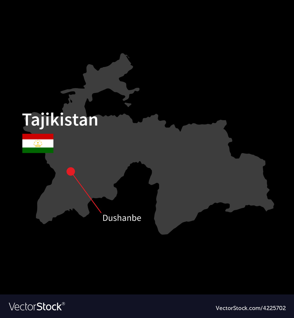 Detailed map of tajikistan and capital city vector | Price: 1 Credit (USD $1)