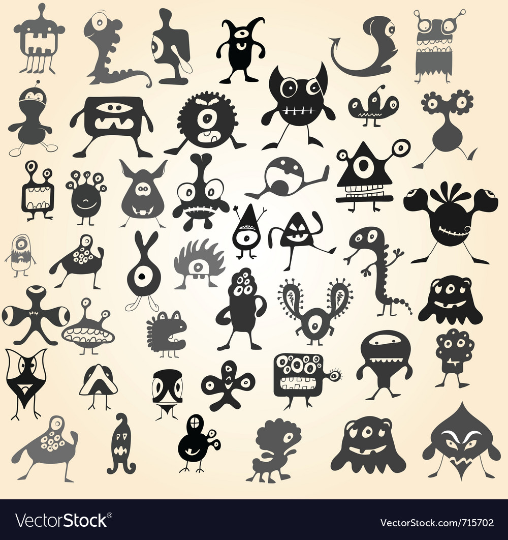 Doodle monsters vector | Price: 1 Credit (USD $1)