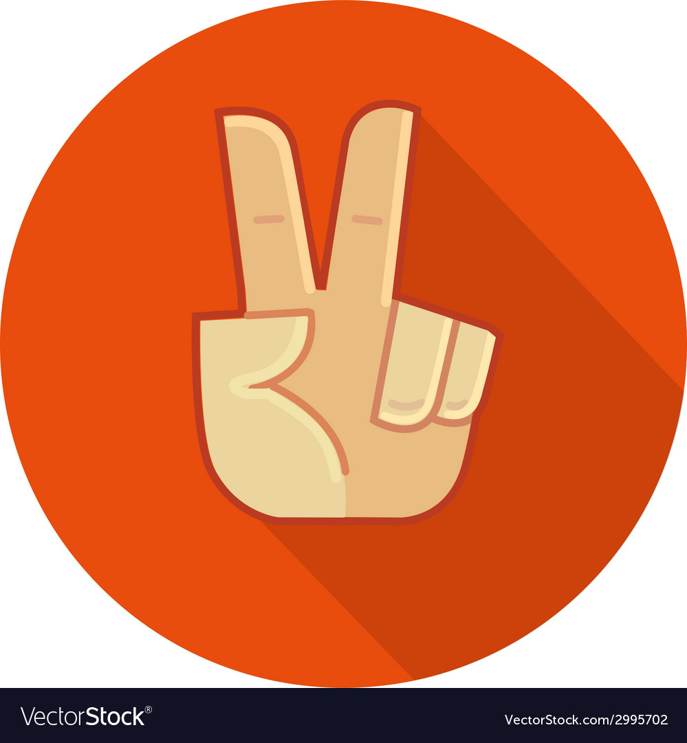 Hand showing number two or victory gesture vector | Price: 1 Credit (USD $1)