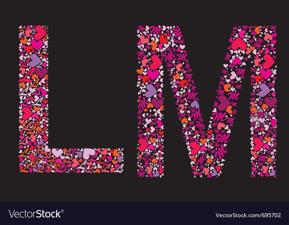 Letter l m valentine alphabet vector | Price: 1 Credit (USD $1)