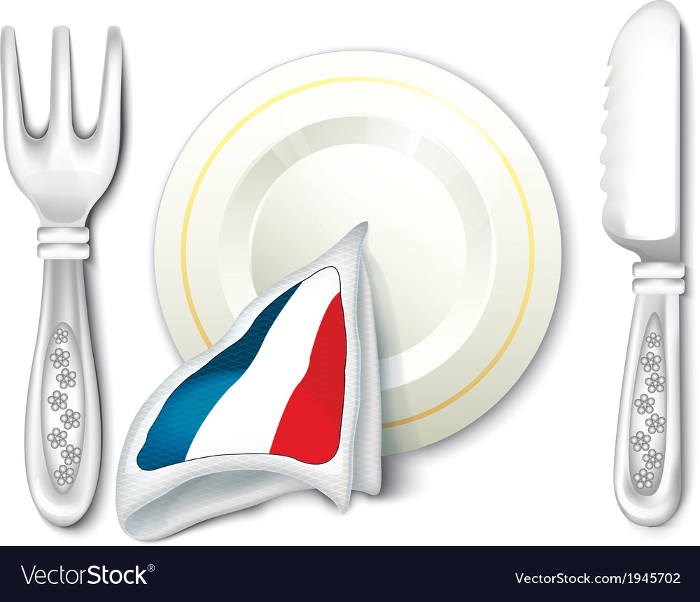 Plate fork knife with france flag vector | Price: 1 Credit (USD $1)