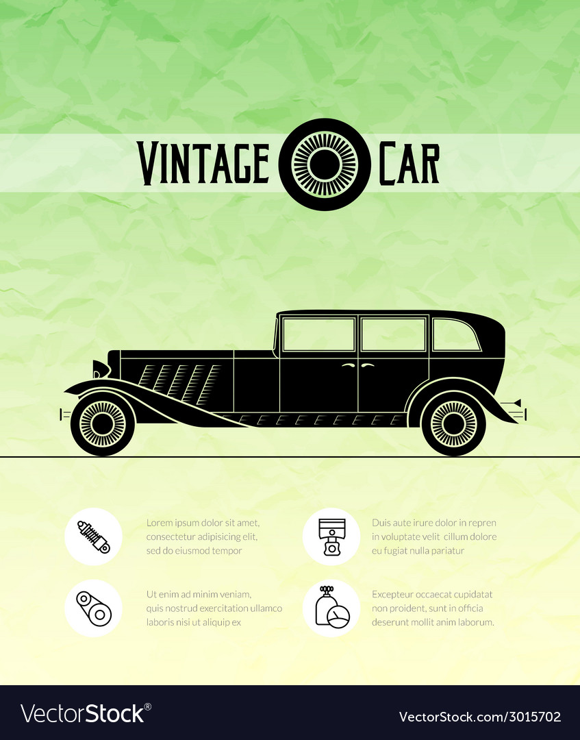Retro car vintage outline style vector | Price: 1 Credit (USD $1)