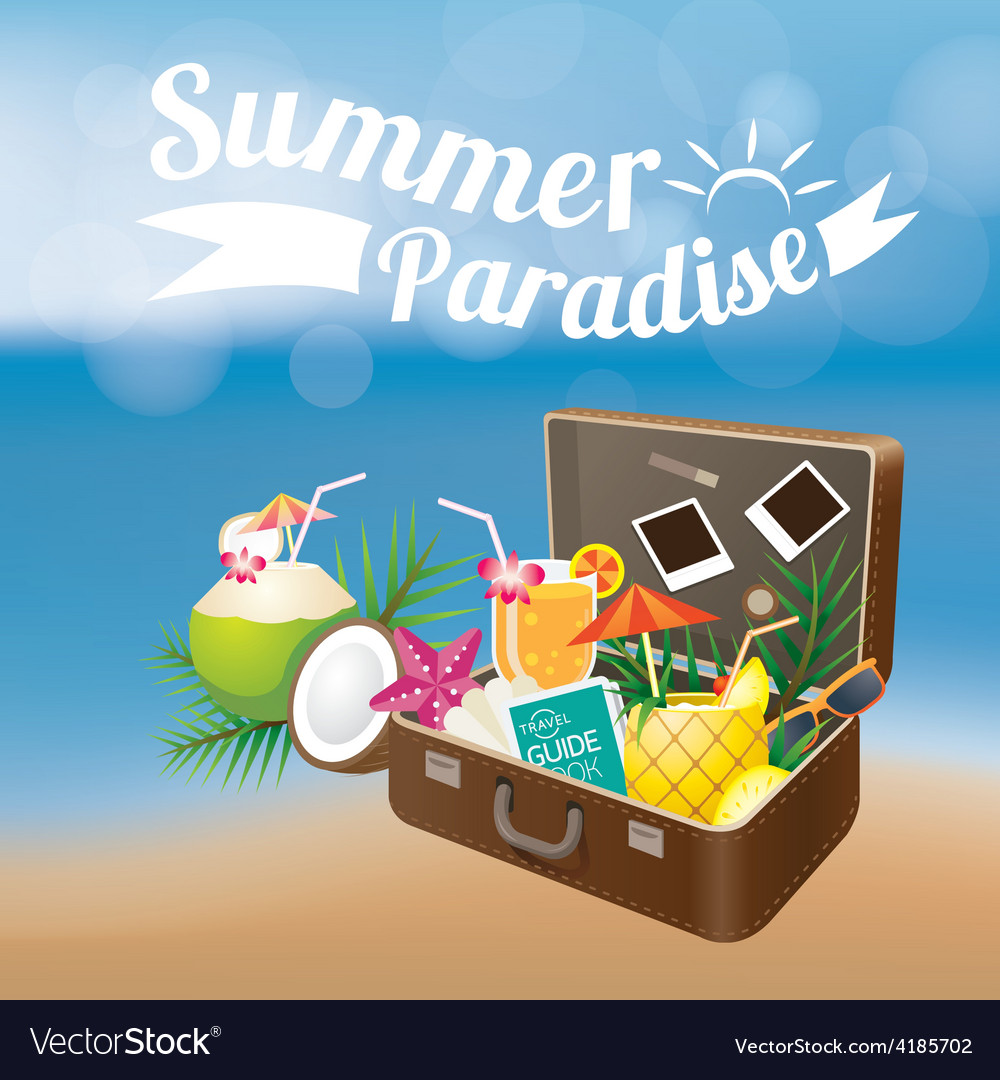 Summer suitcase with objects on blur background vector | Price: 3 Credit (USD $3)