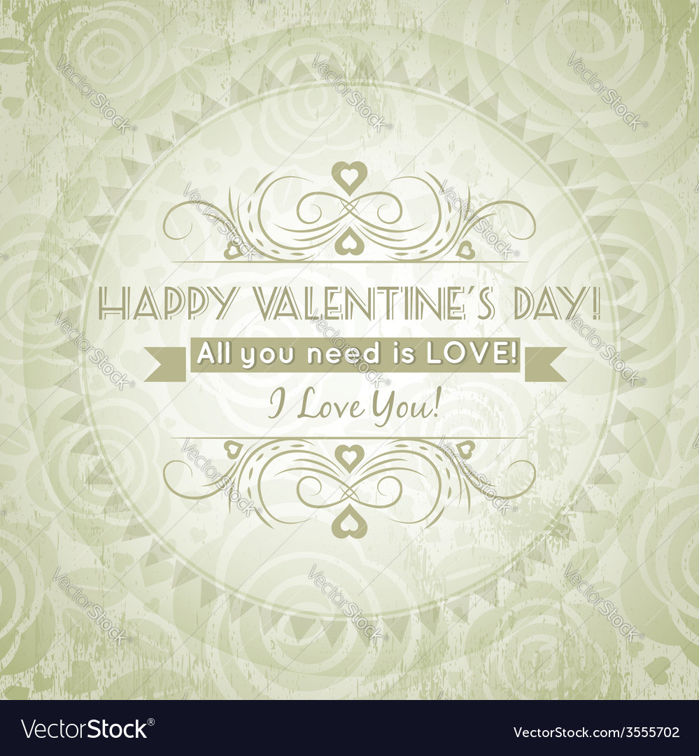 Valentines day greeting card with heart vector | Price: 1 Credit (USD $1)