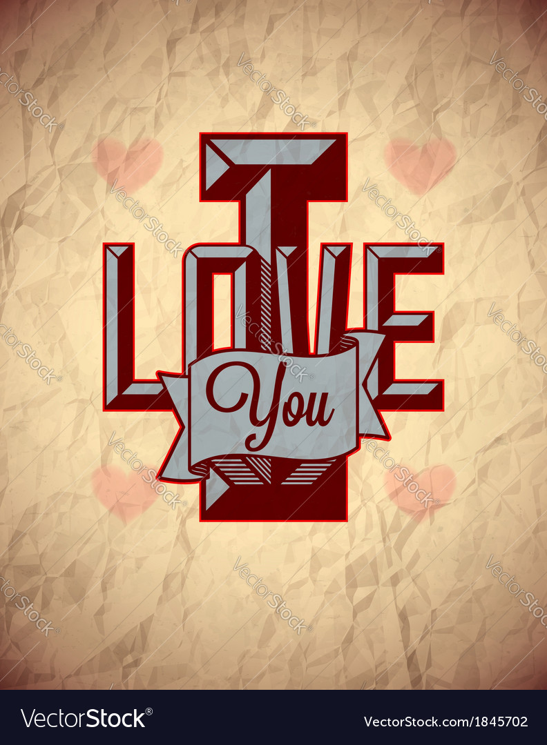 Vintage sign of love on aged crumpled paper vector | Price: 1 Credit (USD $1)