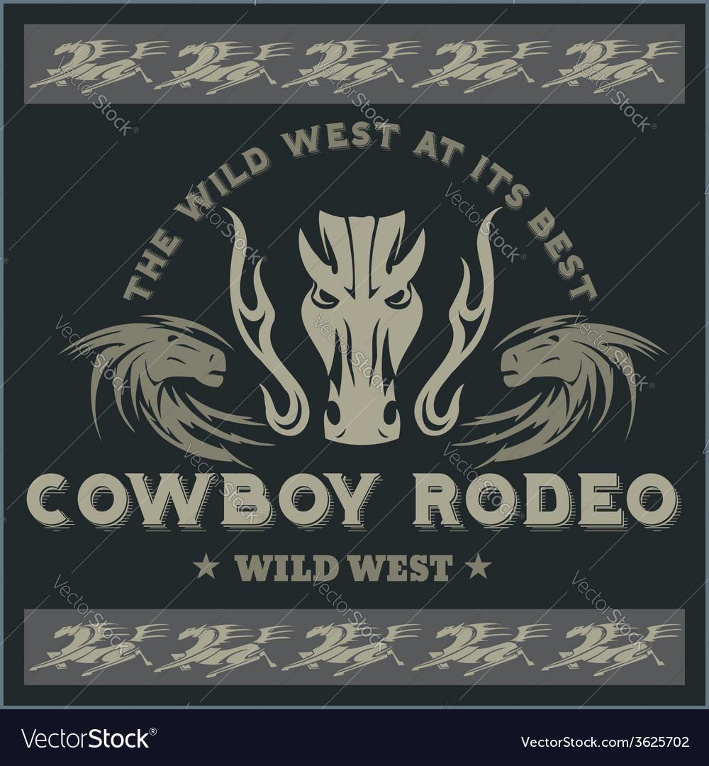 Wild west - cowboy rodeo emblem vector | Price: 1 Credit (USD $1)
