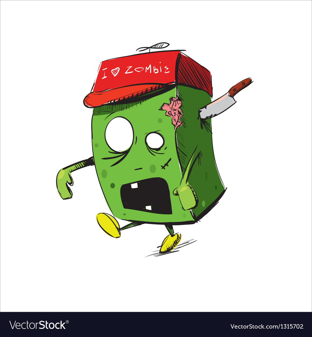 Zombie in a cap isolated on white vector | Price: 3 Credit (USD $3)