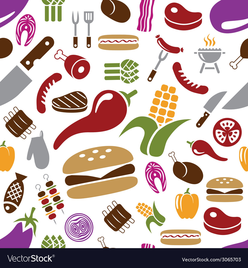 Barbecue seamless pattern vector | Price: 1 Credit (USD $1)