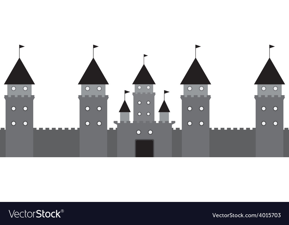 Black castle on white background vector | Price: 1 Credit (USD $1)