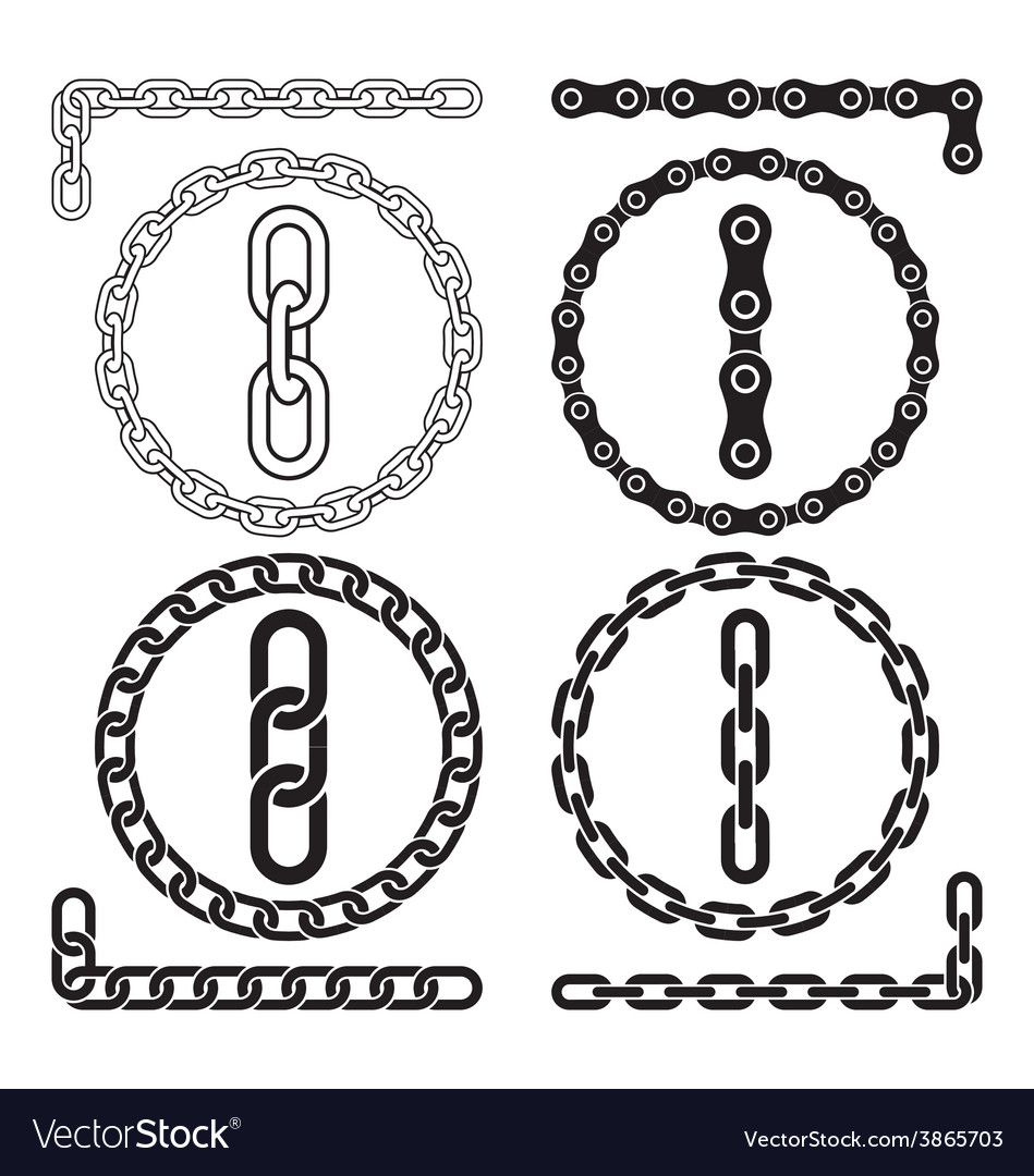Chain icons parts circles of chains vector | Price: 1 Credit (USD $1)