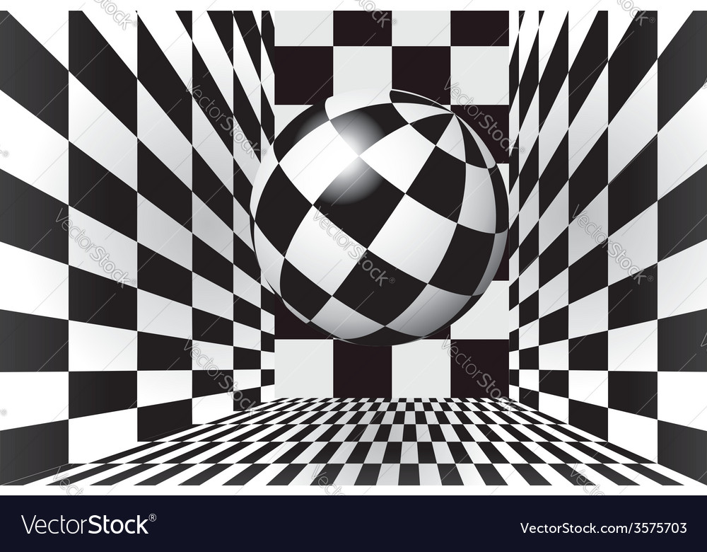 Checkered room with ball vector | Price: 1 Credit (USD $1)