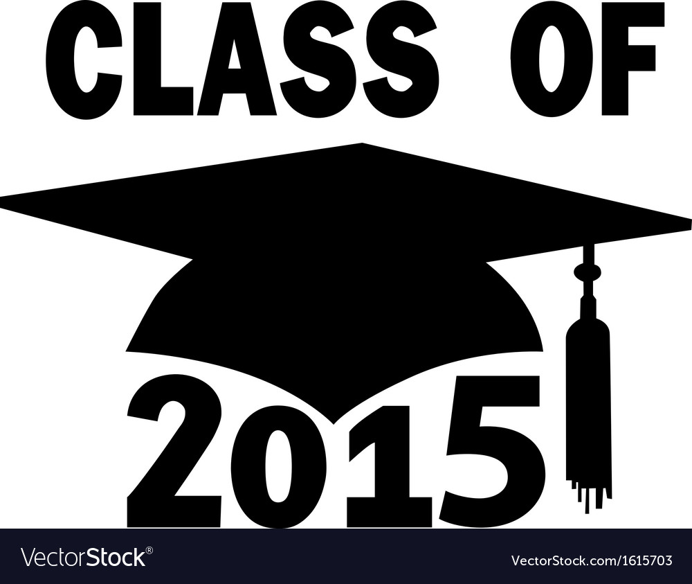 Class of 2015 school mortar board graduation cap vector | Price: 1 Credit (USD $1)