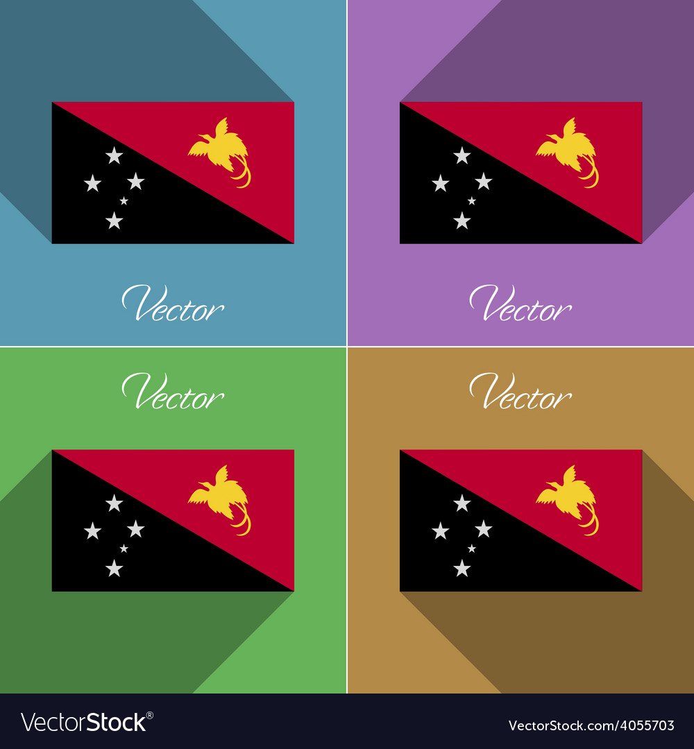 Flags papua new guinea set of colors flat design vector | Price: 1 Credit (USD $1)