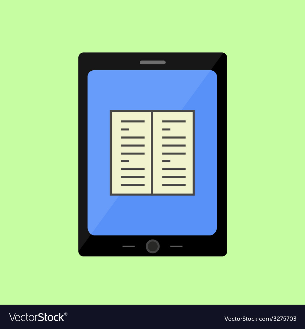 Flat style touch pad with book vector | Price: 1 Credit (USD $1)