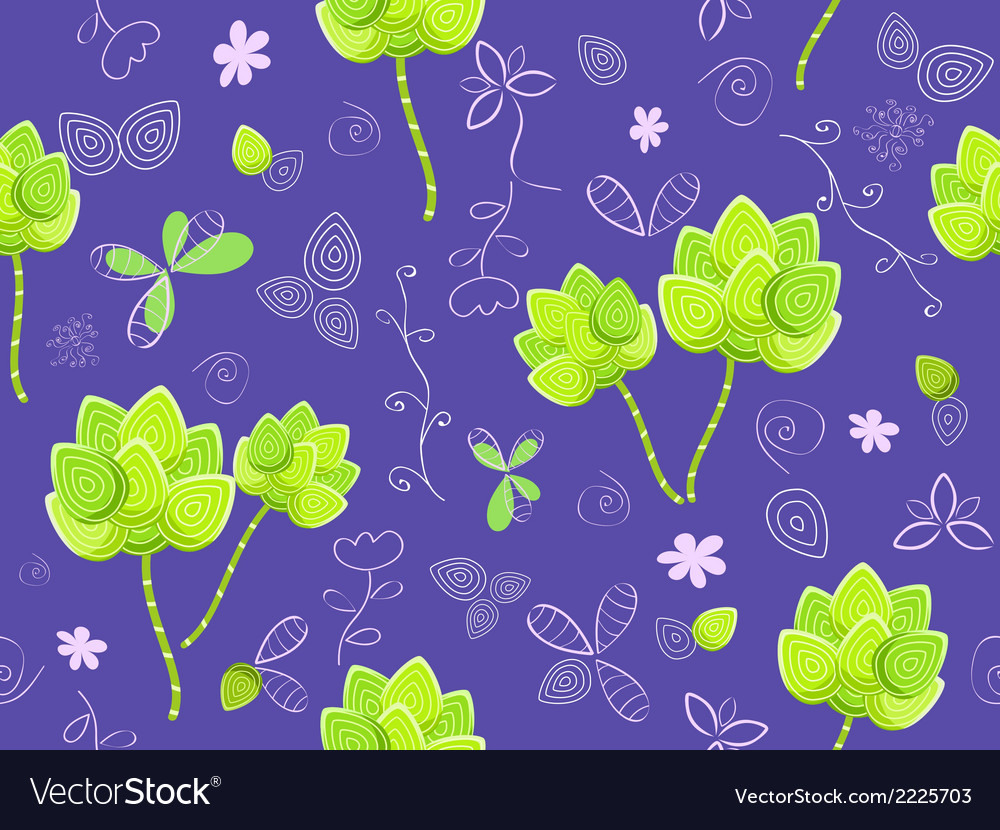 Floral seamless pattern on violet background vector | Price: 1 Credit (USD $1)