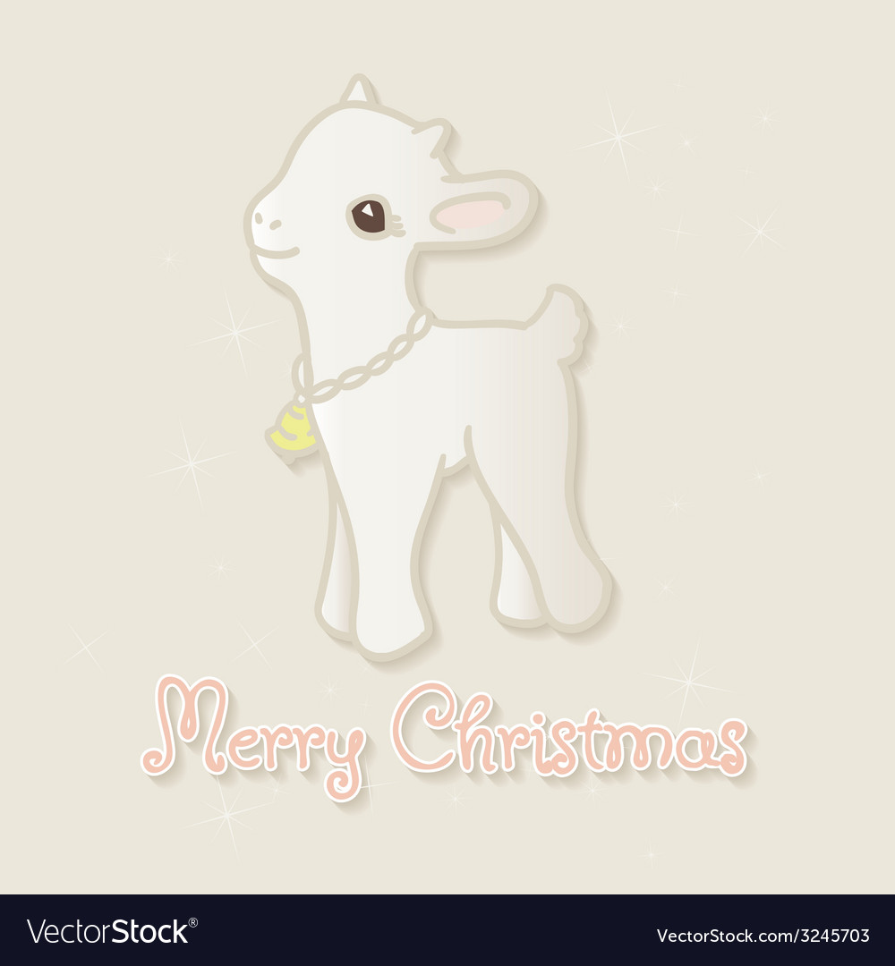 Merry christmas card with little goat vector | Price: 1 Credit (USD $1)