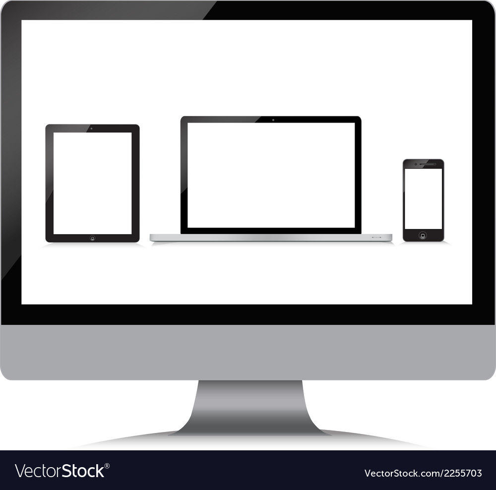 Monitor laptop phone tablet on a white background vector | Price: 1 Credit (USD $1)