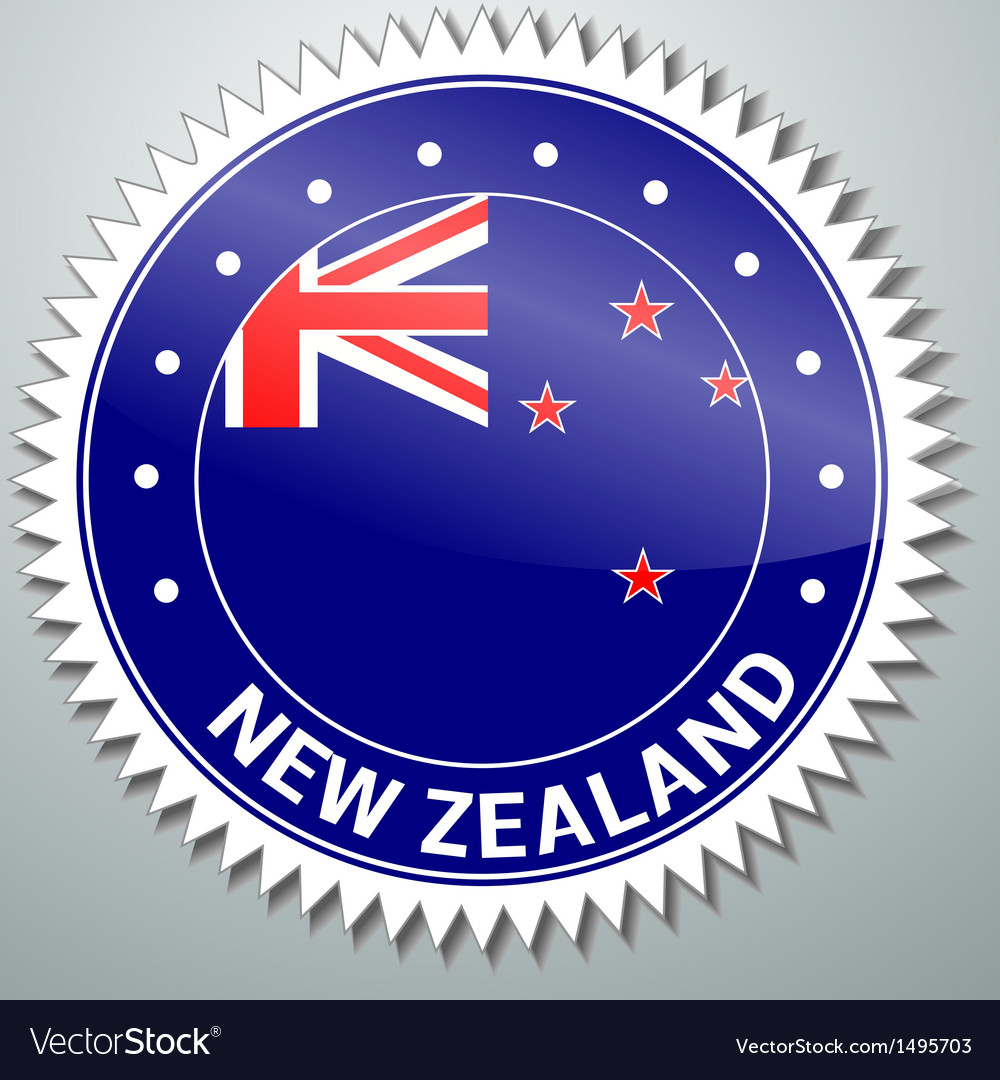 New zealand flag label vector | Price: 1 Credit (USD $1)