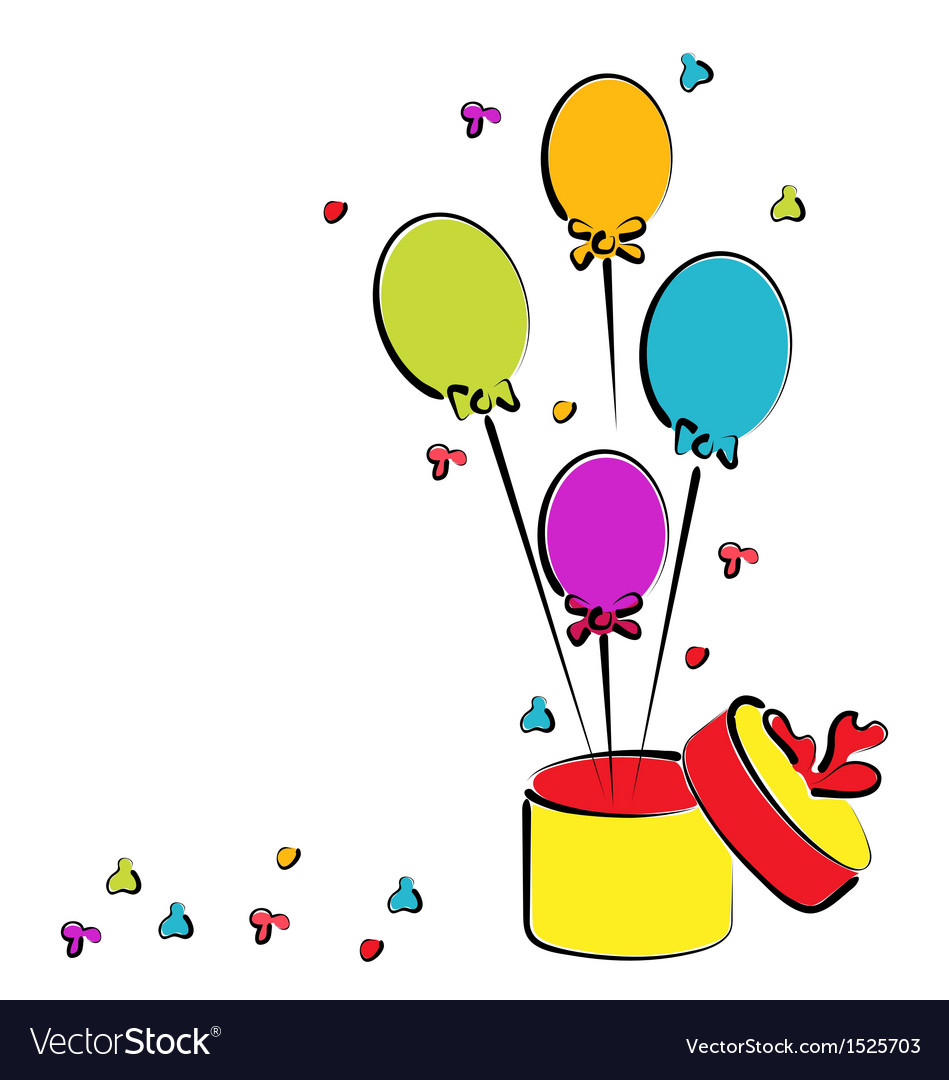 Open gift box with balloons for your birthday vector | Price: 1 Credit (USD $1)