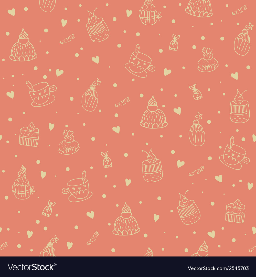 Seamless pattern with cupcakes teacups chocolates vector | Price: 1 Credit (USD $1)