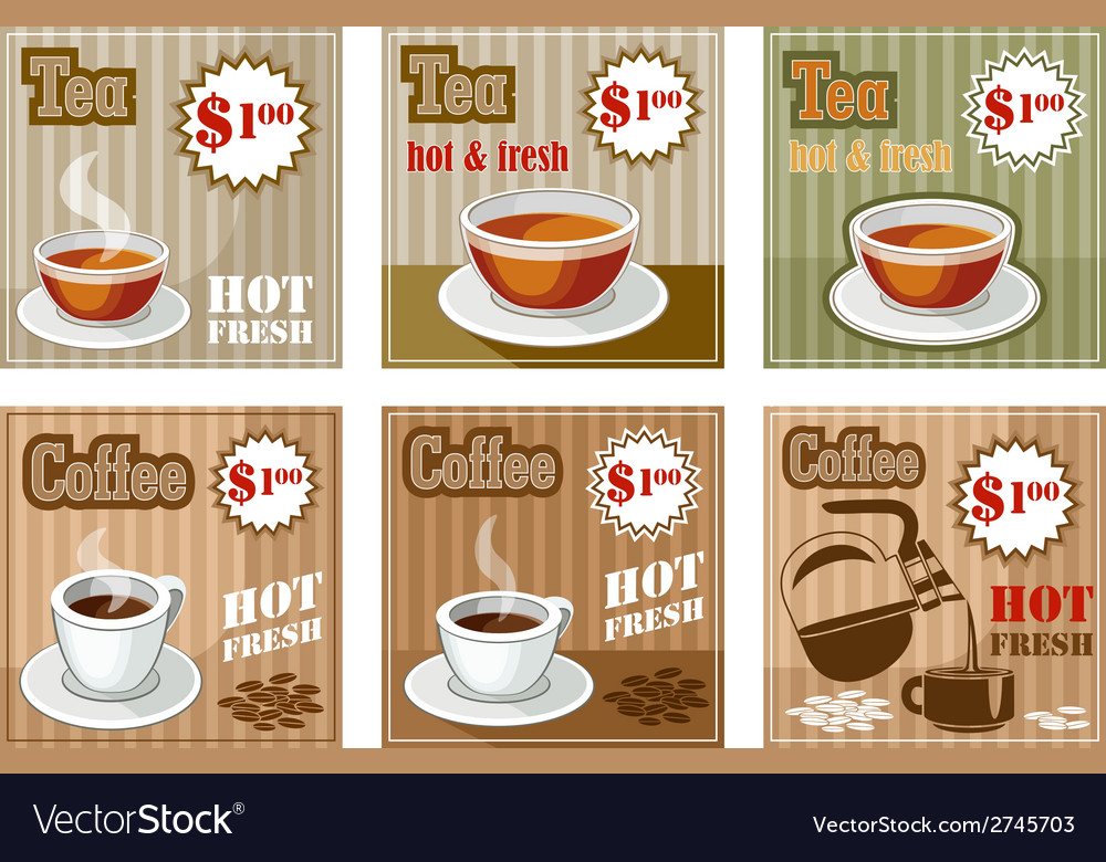 Set of coffee and tea menu card vector | Price: 3 Credit (USD $3)