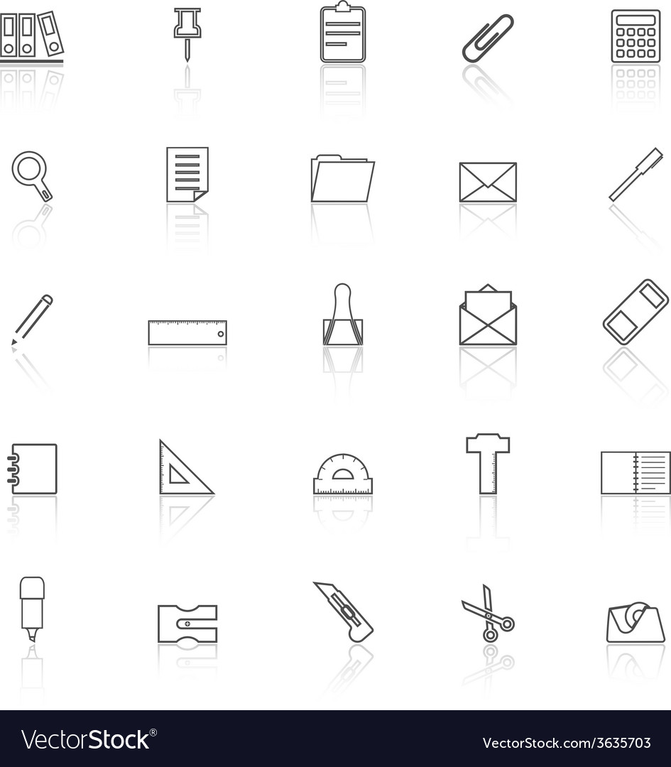 Stationery line icons with reflect on white vector | Price: 1 Credit (USD $1)
