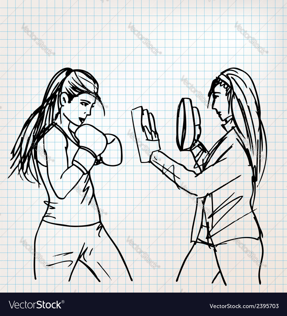 Woman boxer sketch vector | Price: 1 Credit (USD $1)