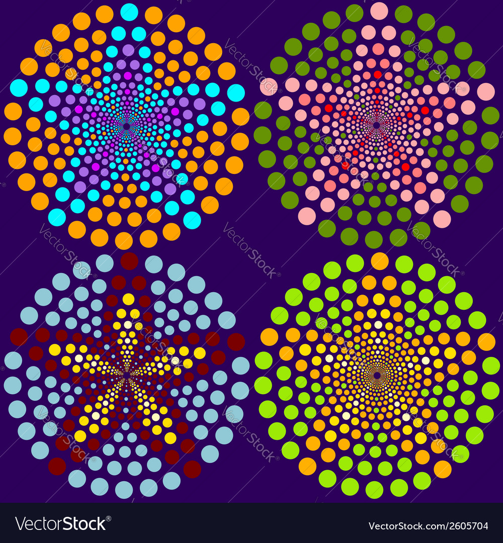 4 abstract flowers made of dots vector | Price: 1 Credit (USD $1)