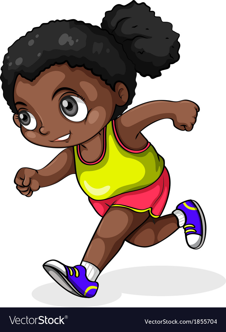 A black girl running vector | Price: 1 Credit (USD $1)