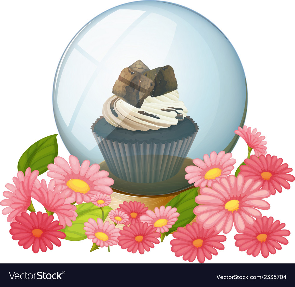 A chocolate cupcake inside the crystal ball vector | Price: 1 Credit (USD $1)