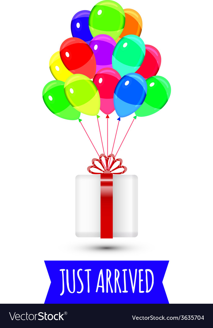Balloons party multicolored giftbox with balloons vector | Price: 1 Credit (USD $1)