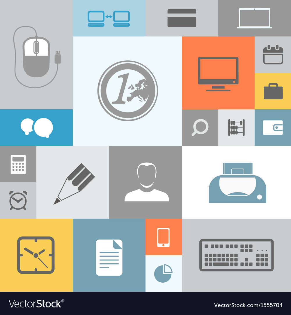 Business icons on color tiles vector | Price: 1 Credit (USD $1)